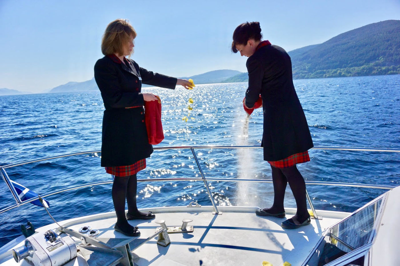Our Funeral Directors Vicki Fraser (left) and Sarah Maclean (right) scattered the ashes of American Alan Heaton on the shores of Loch Ness, fulfilling the final wishes of the lawyer who died 30 years ago.
