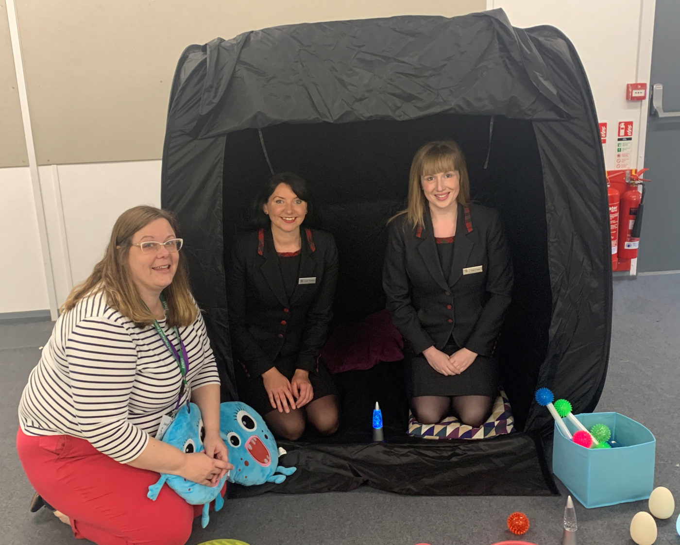Allison Howie, Principal Teacher of Additional Support Needs, with Sarah and Vicki in one of the school's new sensory tents